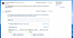 Hello Hipmunk AI email booking
