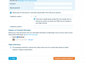 KLM website Facebook Messenger plugin