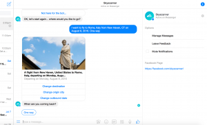 Skyscanner Facebook Messenger Bot search