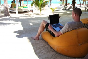 Working from the beach